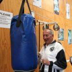 Dave on punching bag