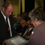 Kevin presents Olwyn with Lloyd Trigg's certificate (Small)